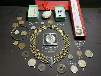 Junk Drawer Estate Lot Vintage 925 Sterling Gold Tone Jewelry Silver 5$ Coin