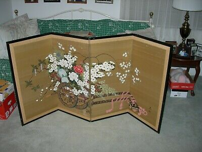 Chinese Hand Painted Silk Rickshaw With Array Of Flowers Hanging Wall Art Screen