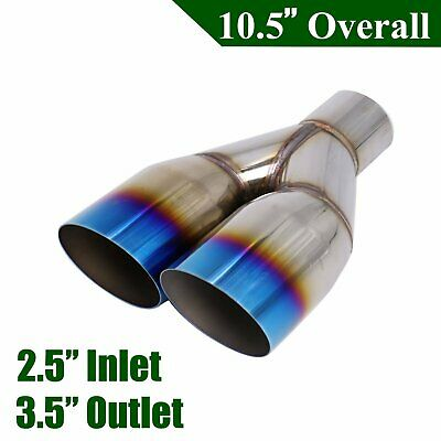 "2.5/"" In 4/"" Out Polished Stainless Burnt Exhaust Single Layer Slant Tip Blue"