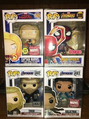 Funko Pop Marvel Exclusive Lot Iron Spider Thor Valkyrie Captain Mavel Spiderman