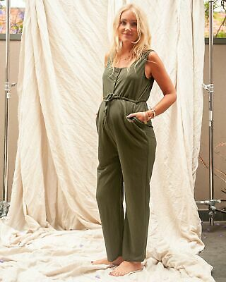 Pea in a Pod Bethany Jumpsuit in Khaki Maternity Pregnancy Clothing