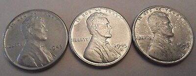 1943 P D S Steel Wheat Cent Penny Set (3 Coins!)   SDS   **FREE SHIPPING**