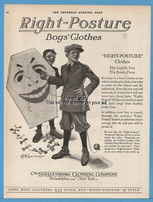 1920 Snellenburg Right Posture Boys Clothes Leyendecker Kite Art Print Ad