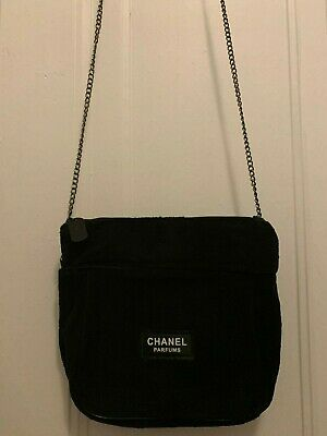 NEW Chanel Beauty Makeup VIP Gift Velour Bag with Chain Balck