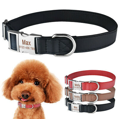 Personalized Dog Collar Durable Leather Name Engraved Small Large Boy Girl Dogs