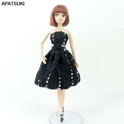 """Black Sequin Fashion Doll Clothes For 11.5"""" Doll Gown Short Dresses Outfits 1/6"""
