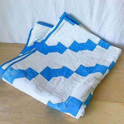 Vintage Quilt Blue & White Bow Tie Cotton Hand Quilted for Repair or Repurposing