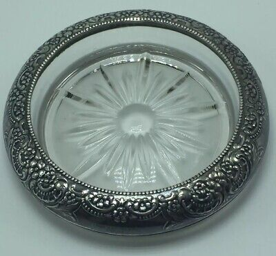 Frank M Whiting & Co Sterling Silver & Glass Intricate Floral Coaster / Ashtray