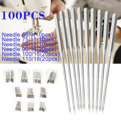 US 100pcs HAX1 Needles Flat Shank for Singer Brother Household Sewing Machine