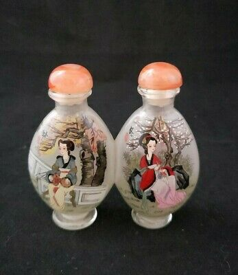 Vintage Double Snuff Bottle Geisha Girls Reverse Painted Glass