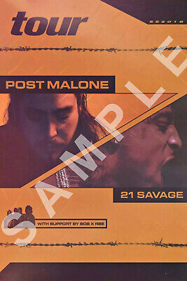 POST MALONE 12x18 TOUR POSTER HOLLYWOOD'S BLEEDING STONEY RAPPER 21 SAVAGE 1