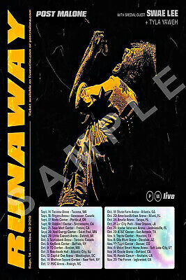 POST MALONE 12x18 RUNAWAY TOUR POSTER 2019 HOLLYWOOD'S BLEEDING STONEY RAPPER 2