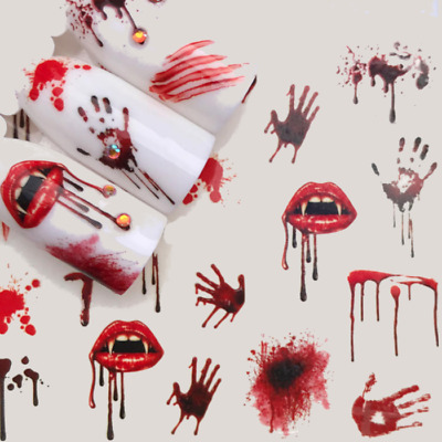 Halloween Nails Bloody Hands Mouth Water Decals