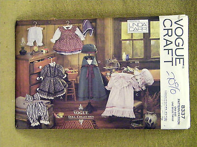 """Vogue Pattern  8337  Early American Style Dress Cape  18"""" Doll Clothes Uncut"""