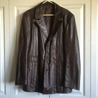 Vintage 70s Don Lorenzo Of Spain Brown Leather Jacket Coat Size 44