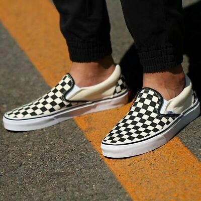 Van s CHECKERBOARD SLIP-ON BLACK/OFF WHITE CHECK Canvas Classic Shoes Fast Ship