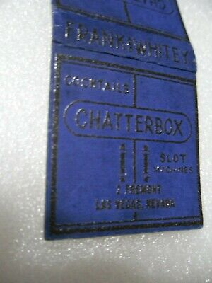 Las Vegas RARE CHATTERBOX Casino Club Cafe Bar matchbook matchcover chip dice