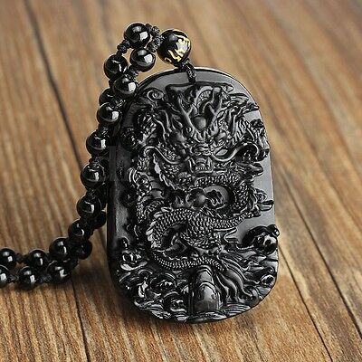 Natural & Obsidian Hand Carved Chinese Dragon Good Luck Charm Pendant