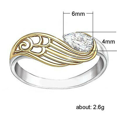 Two Tone Gold Plated 925 Silver White Topaz Woman Jewelry Wedding Ring Size 9