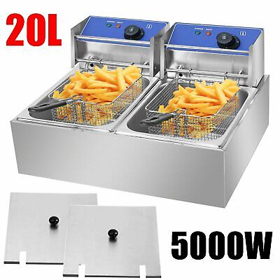 20L Commercial Electric Deep Fryer Stainless Steel Twin Fat Double Tank oD