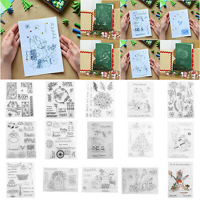 Christmas Silicone Clear Stamp Rubber Scrapbook Embossing Stencil Transparent