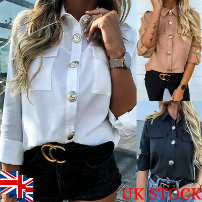 Women Rolled Up Sleeve Shirt Blouse Button Down Collared Ladies Casual Loose Top