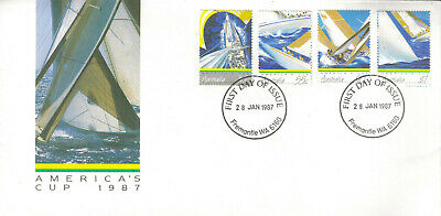 First Day Of Issue Stamped Envelope (WA) - AMERICA'S CUP 1987 (VG) - Aussie Post