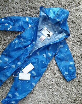 Mothercare Baby Boys Puddlesuit Age 9/12 Months Hooded New Bnwt Rain Suit Clouds