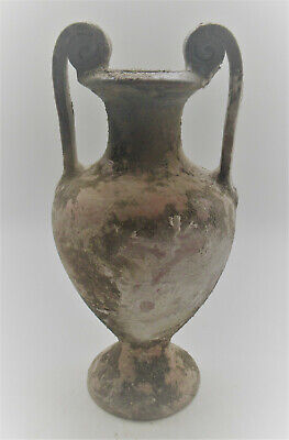 Circa 1000Bce Ancient Mycenaean Terracotta Twin Handled Vessel Greek