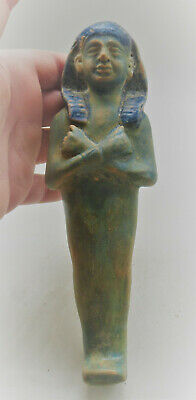 Finest Circa 664-332Bc Ancient Egyptian Glazed Faience Ushabti Shabti