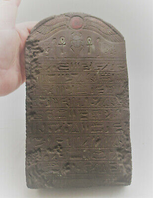 Scarce Circa 1000Bce Ancient Egyptian Stone Carved Relief Panel Heiroglyphics