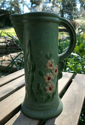 Vintage 1930s Art Deco green matt glaze hand painted jug vase England AS FOUND!