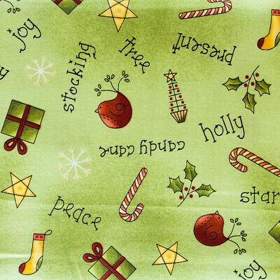 All Things Christmas Present Star Cane Toss Cotton Fabric Red Roster Fabric YARD