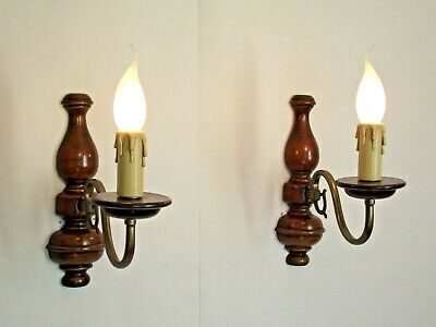 Pair French Country Wood & Bronzed Effect Metal Single Light Wall Sconces 1535