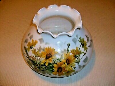 """Vintage Milk Glass Ruffled Lamp Shade Globe Daisy With 7"""" Fitter Gone With Wind"""