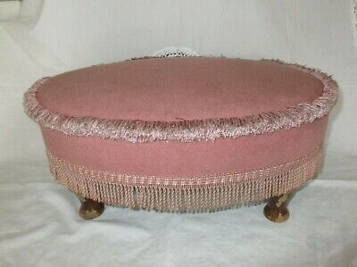 1990 Sherbourne Upholstery FOOT STOOL feet furniture foot rest pink dralon