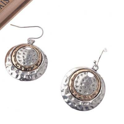 Vintage National Style Silver Big Round Bronze Inlay Dangle Earrings