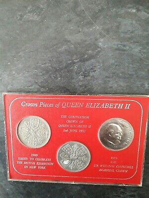 Crown pieces of Queen Elizabeth coin set 1953/1960/1965 see pictures
