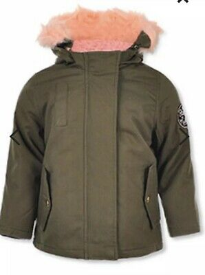 Steve Madden Baby Girls Jacket Army Green With Pink Faux Fur Hood Size 18 Months