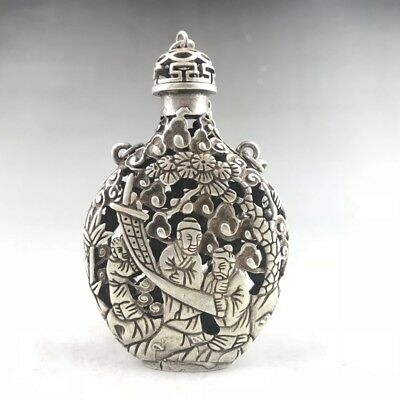 Chinese Tibetan Silver Copper Snuff Bottle Hand-Carved Children's Pattern