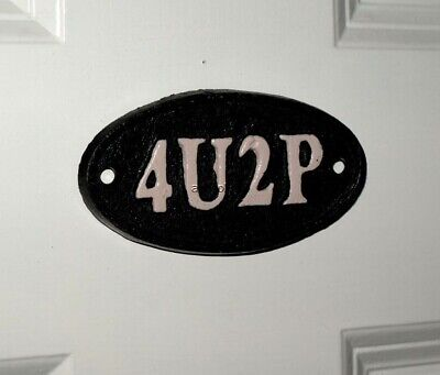 Funny 4U2P Toilet Door Black Sign Cast Iron Oval Plaque 10 x 5 cm Bar Pub New