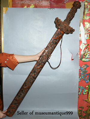 "48.4"" Ancient China Peach Wood Carved 9 Dragon Qilin Beast weapon Sword sabre"