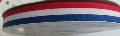 Red White & Blue Flag Ribbon Sold by the Metre 15mm UK France