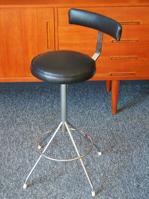 VTG Industrial Machinists Factory Stool Restored Padded Black Vinyl