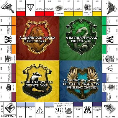 Harry Potter,Monopoly 4 House Board,10in Set,Harry Potter Game, Harry Potter