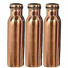 Pure Copper Bottle- 1Litre (Set of 3), Leak Proof & Joint Less for Ayurveda