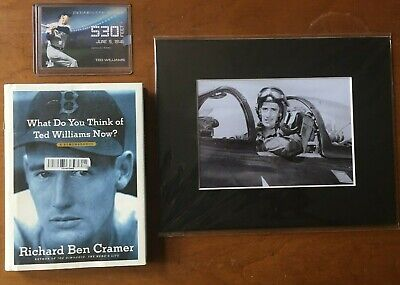 Ted Williams Lot Book, Baseball Card, Fighter Pilot Photo