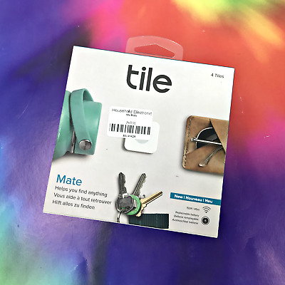 NEW! Tile Mate Bluetooth Tracker Device With Replaceable Battery, 4-Pack #0633