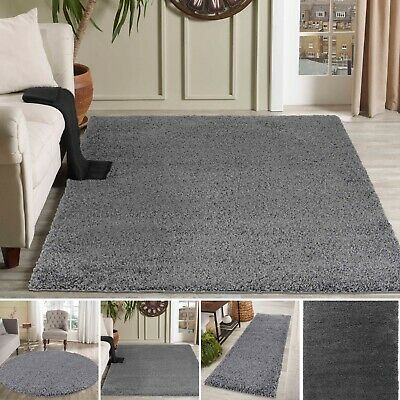Modern DarkGrey Small - Large Living Room Area Plain Fluffy Shaggy Rug