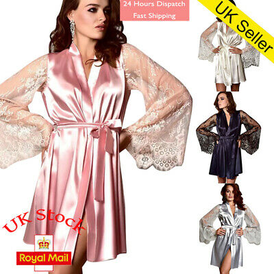 Womens Sexy Sleepwear Lace Long Sleeves Bride Kimono Robe Satin Silk Nightwear